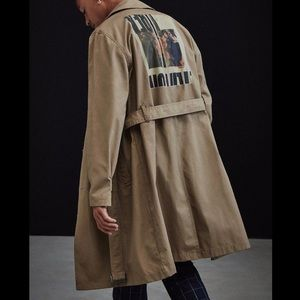 urban outfitters breasted Trench coat Size…